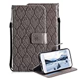 For iPhone 7 8 Wallet Case, Aearl Soft PU Leather 3D Totem Embossed Rattan Flower Design Case with Stand Function ID Slot Card Holder Wrist Strap Slim Flip Protective Cover for iPhone 8 7 - Gray