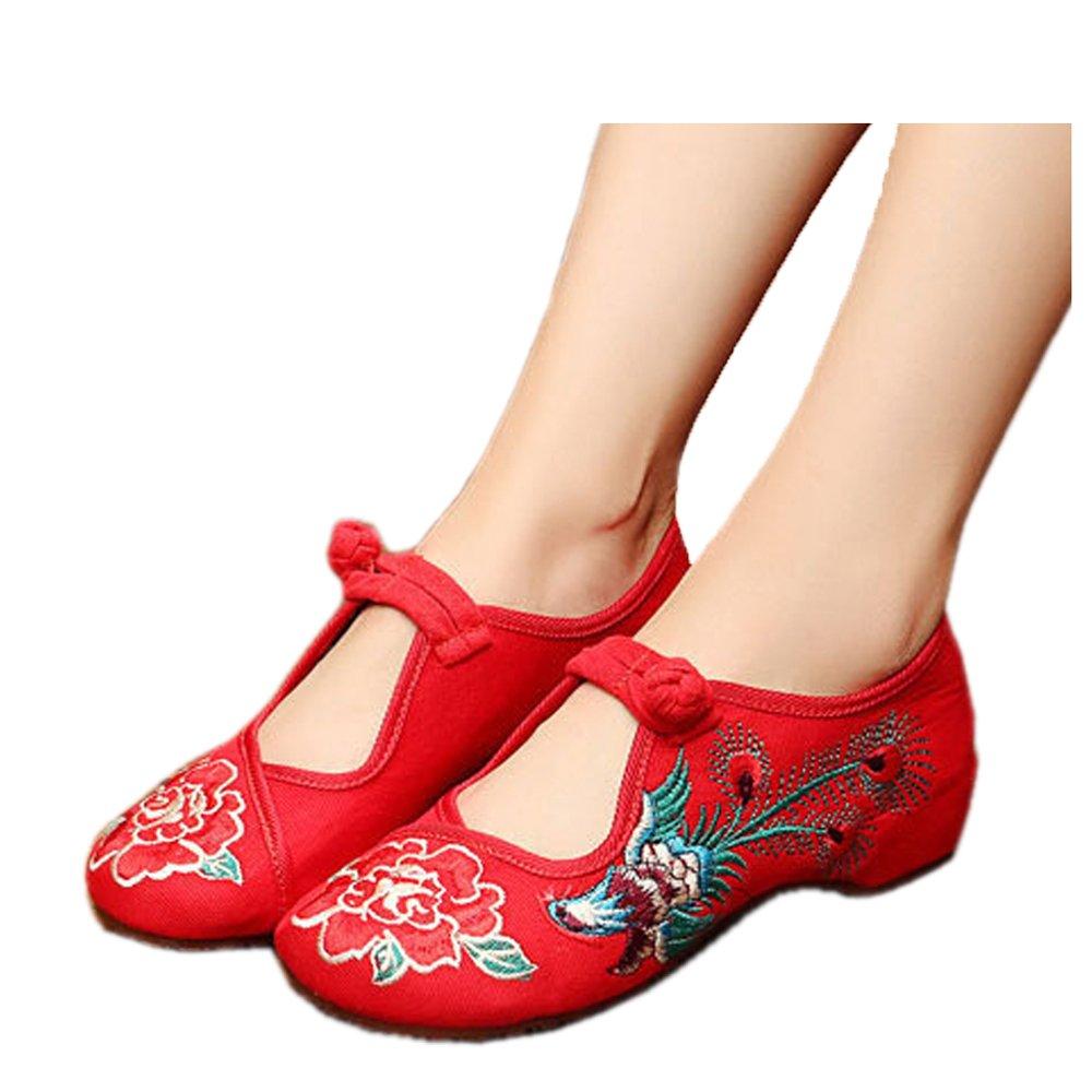 Phoenix Embroidery Women Women Danding Casual Walking Flats Shoes  Rosso