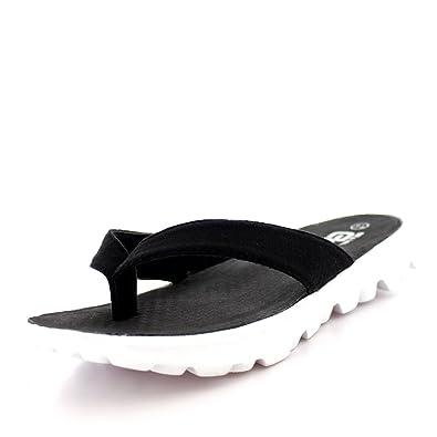 70fc637def1bf5 Womens Toe Post Lightweight Summer Flip Flop Walking Sports Sandal Shoes -  White Black -