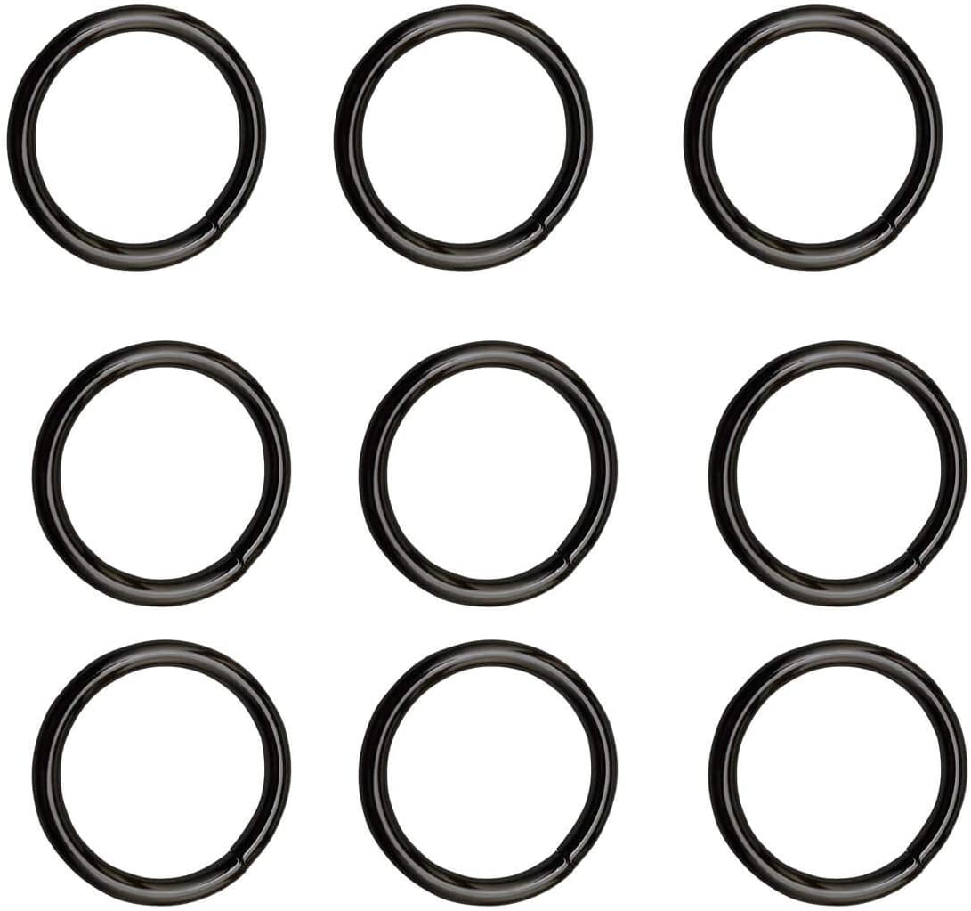 15 pieses 2 inch Black welded O-Ring Nickel Plate Steel Rings Multi-Purpose Metal O Ring for Macrame Camping Belt Dog Leashes Light Luggage Belt Craft Project DIY Accessories