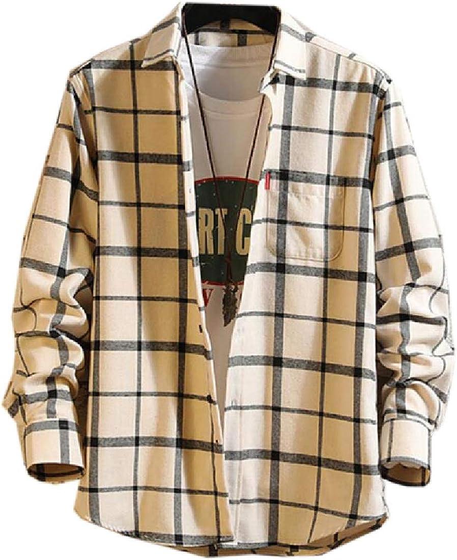 shinianlaile Mens Plaid Button Down Shirt Long Sleeve Casual Slim Fit Tops