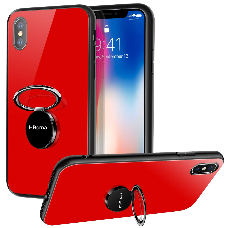 Coque iPhone X, Coque iPhone 10 avec Béquille Porte-Anneau, 9H Couverture Arrière en Verre trempé et TPU Bupmer Anti-Scratch Housse pour iPhone X (Rouge)