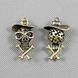1 PCS Jewelry Making Charms Findings Supply Supplies Crafting Lots Bulk Wholesale Antique Bronze Tone Plated 22521 Pirate Skull