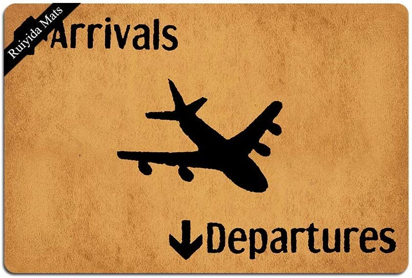 Ruiyida Arrivals and Departures Airplane Doormat Custom Home Living Decor Housewares Rugs and Mats State Indoor Gift Ideas 23.6 by 15.7 Inch Machine Washable Fabric Top