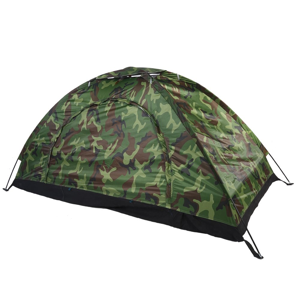 Alomejor Outdoor One Person Tent, Camouflage Style UV Protection Waterproof Tent for Camping Hiking