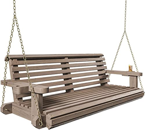 Porchgate Amish Heavy Duty 800 Lb Roll Comfort Treated Porch Swing W/ Chains 5 Foot