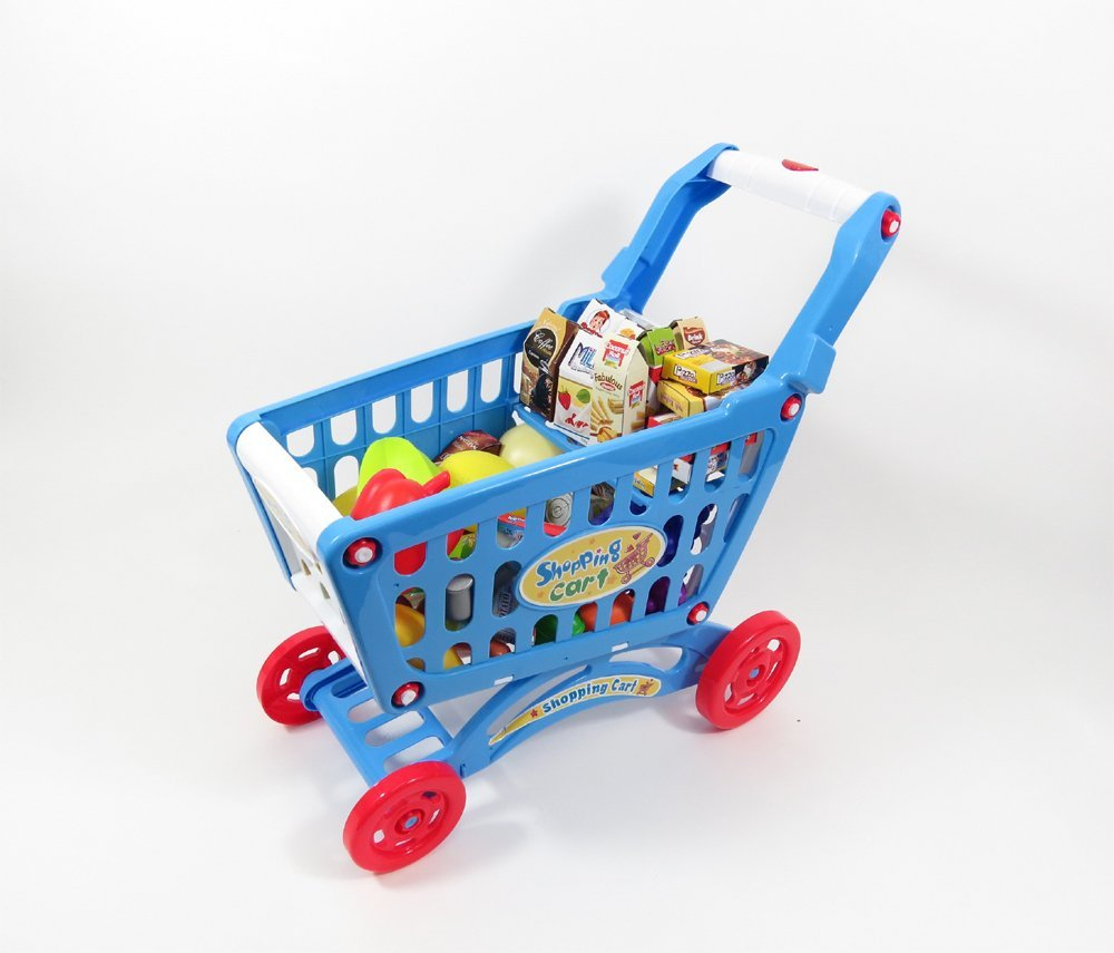 AMPERSAND SHOPS Musical Toy Shopping Cart with Goodies (Blue)