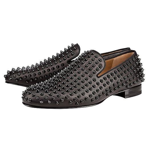 Men's Rivets Slip On Loafers Oxford Black Dress Shoes
