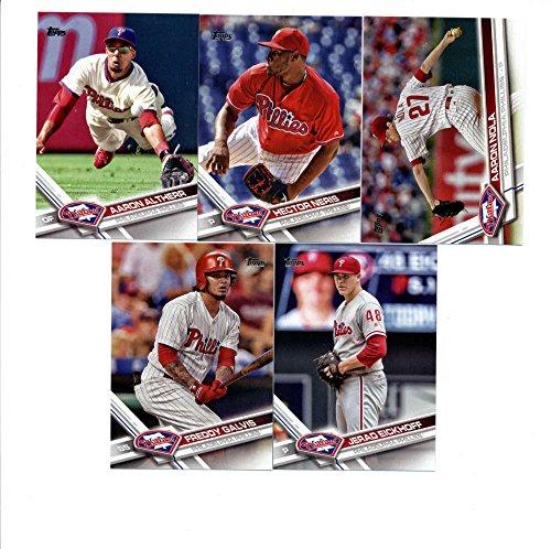 2017 Topps Philadelphia Phillies Complete Master Team Set of 29 Cards (Series 1, 2, Update) with Jerad Eickhoff(#12), Aaron Altherr(#66), Freddy Galvis(#88), Philadelphia Phillies(#174), Cesar Hernandez(#222), Hector Neris(#247), Aaron Nola(#340), Jake Thompson(#344), Jeremy Hellickson(#348), Cameron Rupp(#352), Maikel Franco(#411), Tommy Joseph(#431), Roman Quinn(#498), Vince Velasquez(#547), Jorge Alfaro(#569), Odubel Herrera(#612), Jeanmar Gomez(#660), Peter Bourjos(#661), plus more