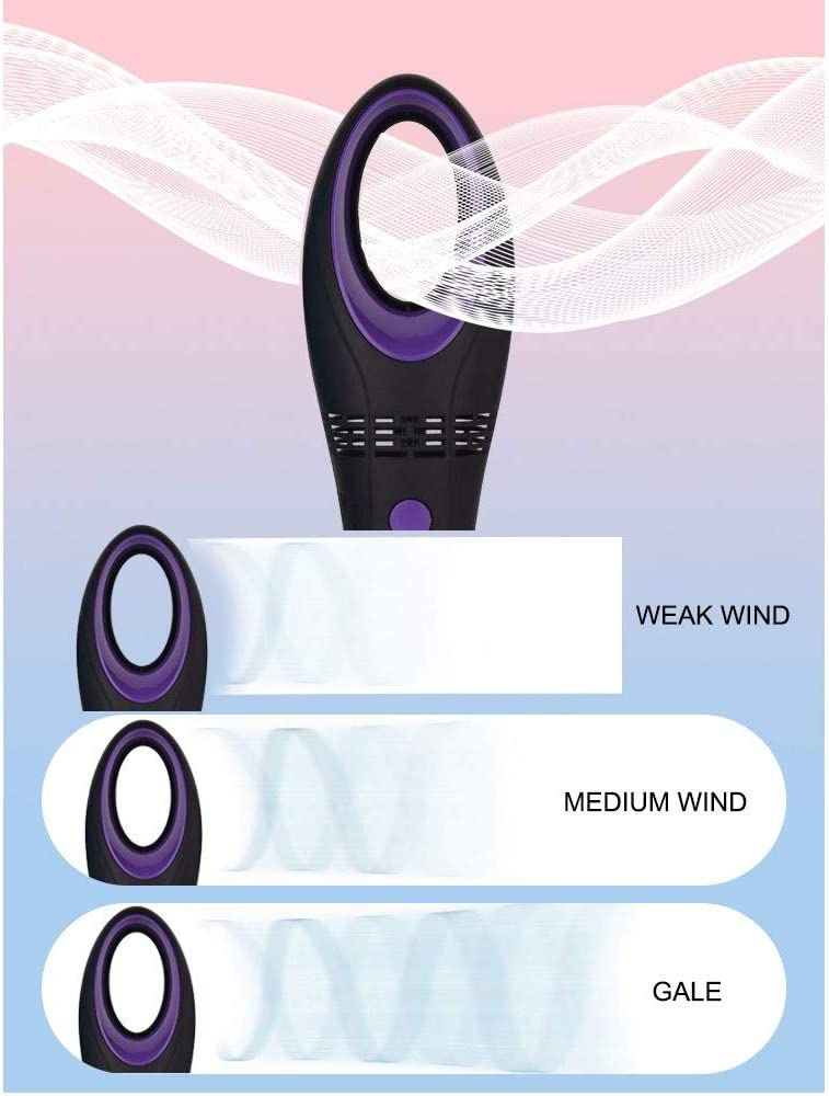 Three-Speed Wind Built-in Lithium Battery Battery Life Up to 8h Mihaojianbing Creative Portable Handheld USB Leafless Fan Color : Pink Size: 6 5.822cm hmore features58