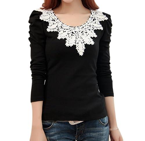 LOBZON - Camisas - Túnica - Floral - Cuello redondo - para mujer