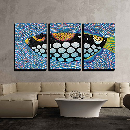 wall26 - 3 Piece Canvas Wall Art - Clown Triggerfish Original Acrylic Painting on Canvas - Modern Home Decor Stretched and Framed Ready to Hang - 24