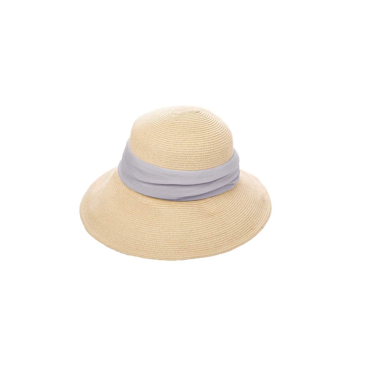 Zhongyue Hat Female Summer Straw Hat Wild Hat Visor Foldable Big Sunscreen Travel Beach Sun Hat, Beige, Dark Blue Summer hat (Color : Beige)