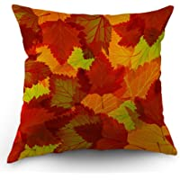 Moslion Fall Pillows Leaf Throw Pillow Cover Autumn Leaves Maple Pillow Case 18x18 Inch Cotton Linen Square Cushion Decorative Cover Sofa Bedroom Orange