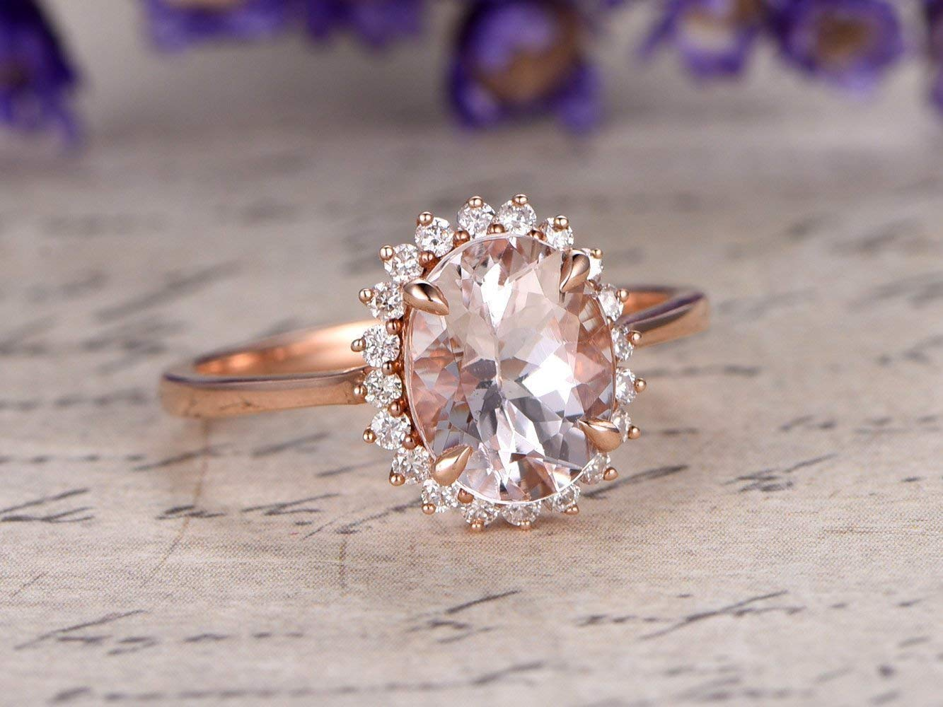 Amazon Com Morganite Solitaire Engagement Ring Solid 14k Rose Gold Diamond Halo Wedding Ring Flower Plain Band Antique 7x9mm Oval Cut Pink Gemstone Bridal Anniversary Gift For Her Floral Promise Handmade