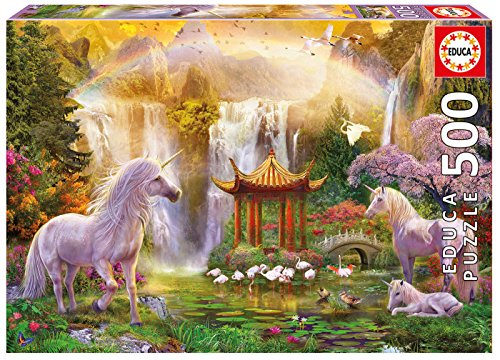Educa Unicorn Valley of The Waterfalls Puzzle (500 Piece), One Color