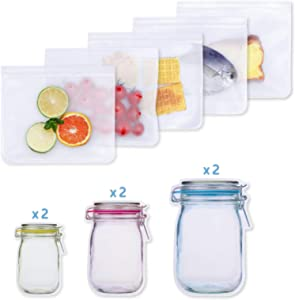 11 Pack Reusable Sandwich Storage Bags Mason Jar Zipper Bags Leakproof Snack Lunch Bag Ziplock Container for Food Storage Home Travel Organization