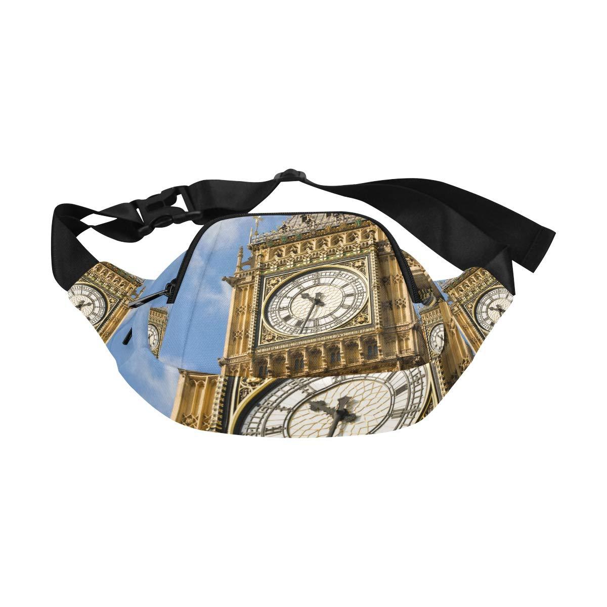 Closeup Of The Clock Face Of Big Ben Fenny Packs Waist Bags Adjustable Belt Waterproof Nylon Travel Running Sport Vacation Party For Men Women Boys Girls Kids