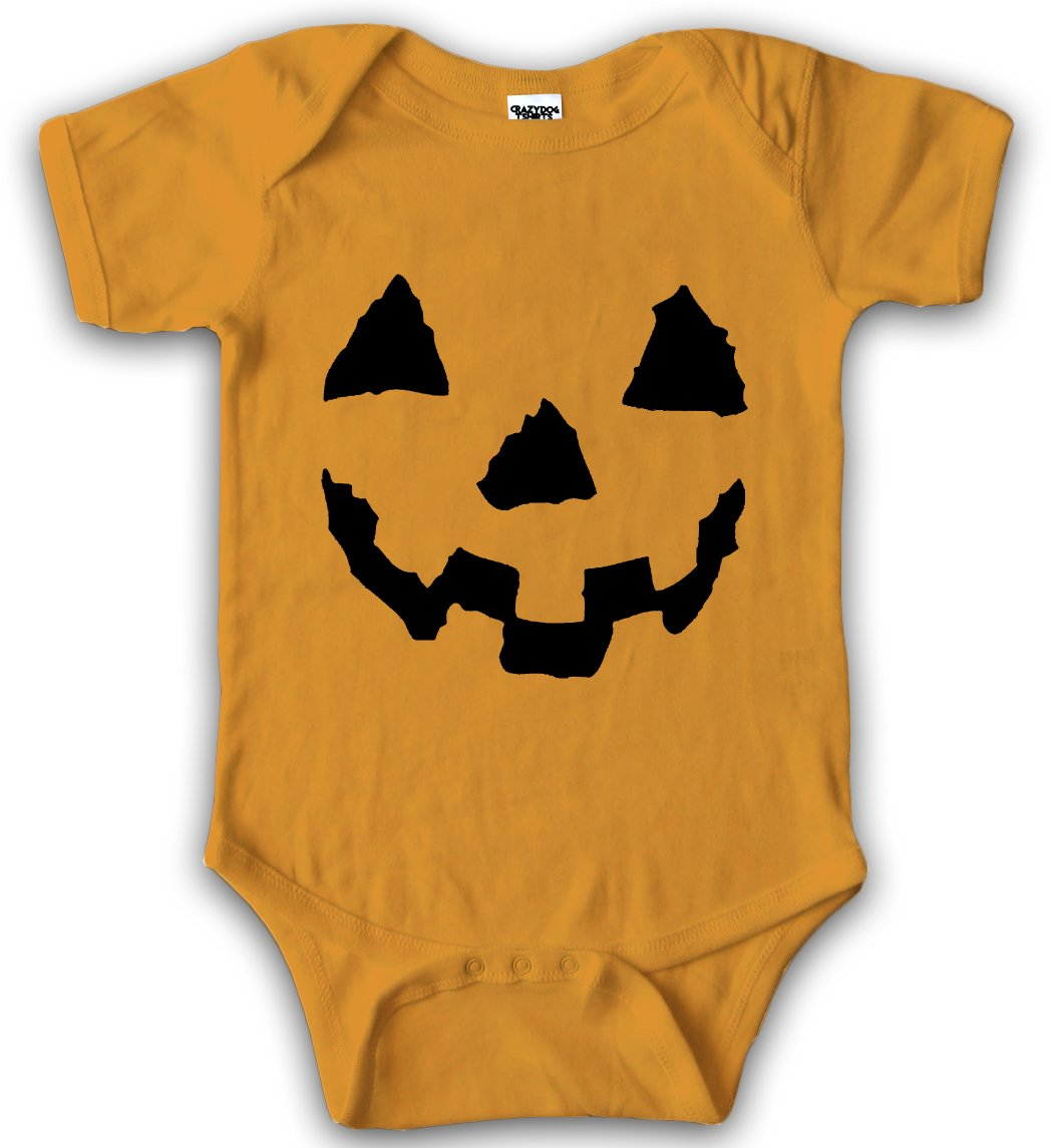 Baby Pumpkin Face Halloween JackOlantern Bodysuit Creeper for Infants Crazy Dog Tshirts
