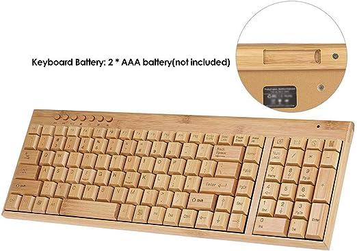 SCKL Teclado Inalámbrico De Bambú PC Y Teclado Combo De Ratón ...