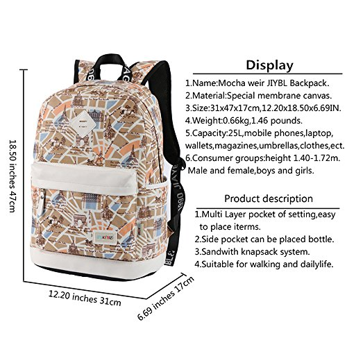 Jiaybl Weir School Children Mocha Girls Ladies Women Backpack (butterfly) Beige
