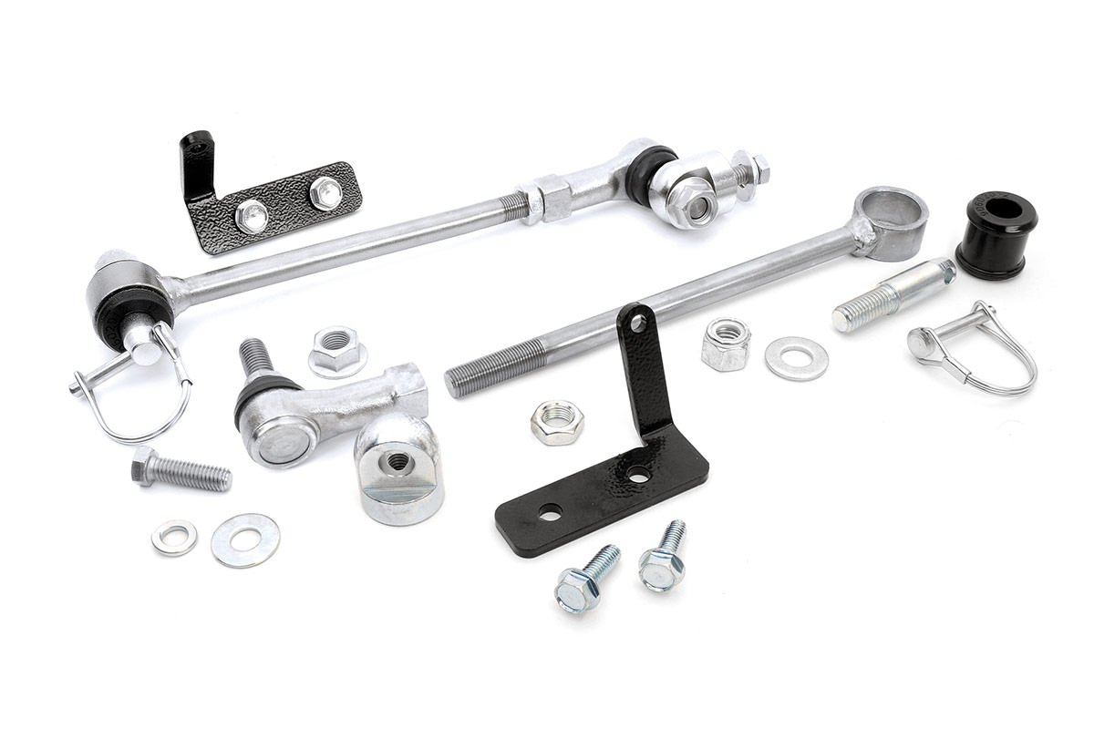 Rough Country 1128 Rough Country-1128-Front Sway Bar Quick Disconnects for 4-6.5-in Lifts for 4WD Jeep: 84-01 XJ, 86-92 Comanche MJ, 93-98 Grand Cherokee ZJ