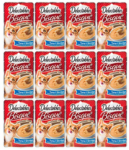 - Delectables Bisque Lickable Wet Cat Treats - Tuna & Shrimp - 12 Pack