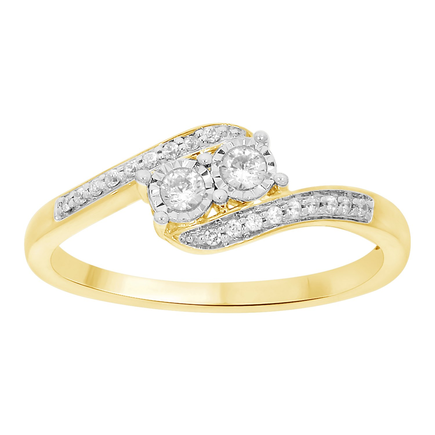 10k Solid Gold White Natural Diamond Accented Two Stone Style Band Ring (0.15 Cttw)