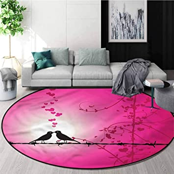 Two Love Kissing Birds Bedroom Carpet Round Rug Floor Mat Livingroom Area Rugs