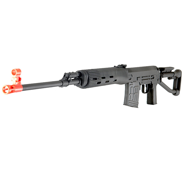 BBTac SVD Dragunov Black Compact Airsoft Sniper Rifle - Spring Powered Airsoft Gun Shooting 6mm BBs Pellet