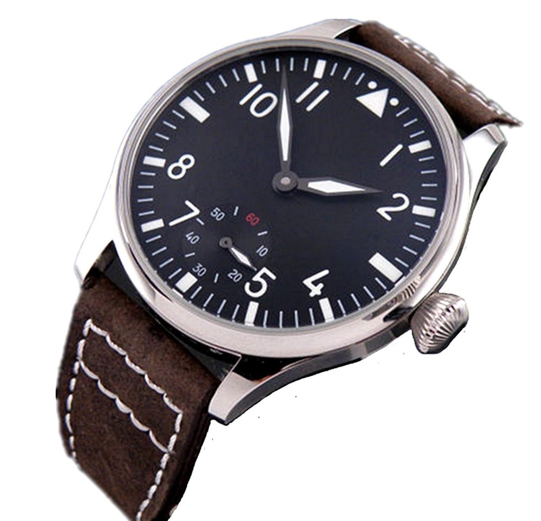 PARNIS 44 mm schwarz Zifferblatt Nummer Hand Aufziehen 6498 Herren Handgelenk Marke Uhr