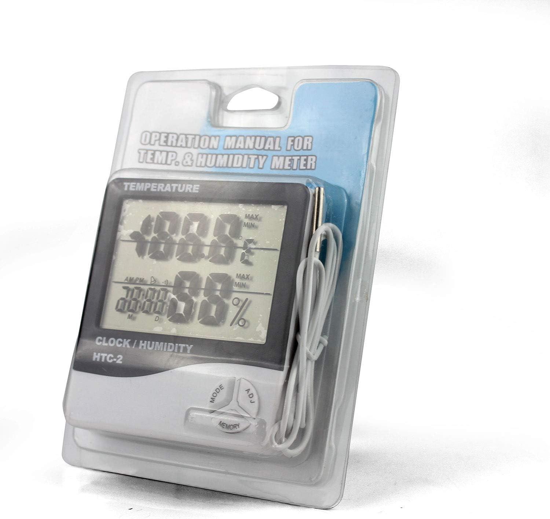 Weinkeller etc K/üche 1m Sondekabel Digitales Innen Au/ßen Thermometer und Hygrometer  mit Wecker Kalender und LCD Display C//F Schalter f/ür B/üro Schlafzimmer