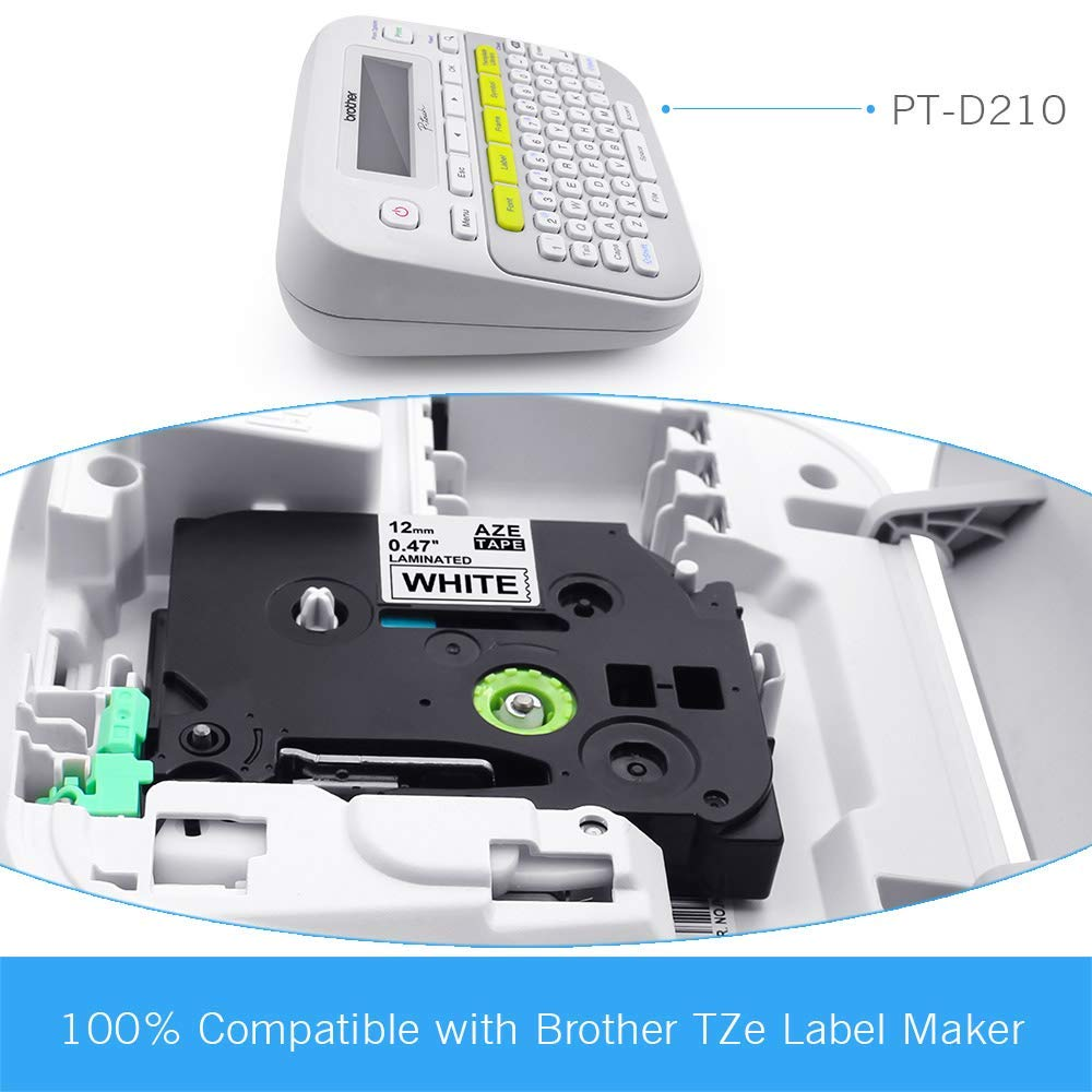 5x Compatibile Brother TZe Nastro Cassette Etichette Compatibile Brother TZe-231 TZ231 Nero su Bianco 12mm x 8m per Brother P-Touch PT-1000 1010 1280 P750W H110 D200 P700 D210