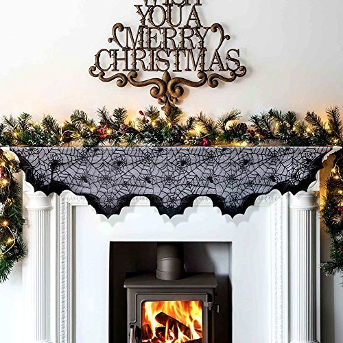 Aytai Black Christmas Ornaments Lace Bats Mantel Scarf for Fireplace Unique Fireplace Mantle Scarf for Black Christmas Decorations, 80inch X 20inch (Christmas Mantel Scarf)