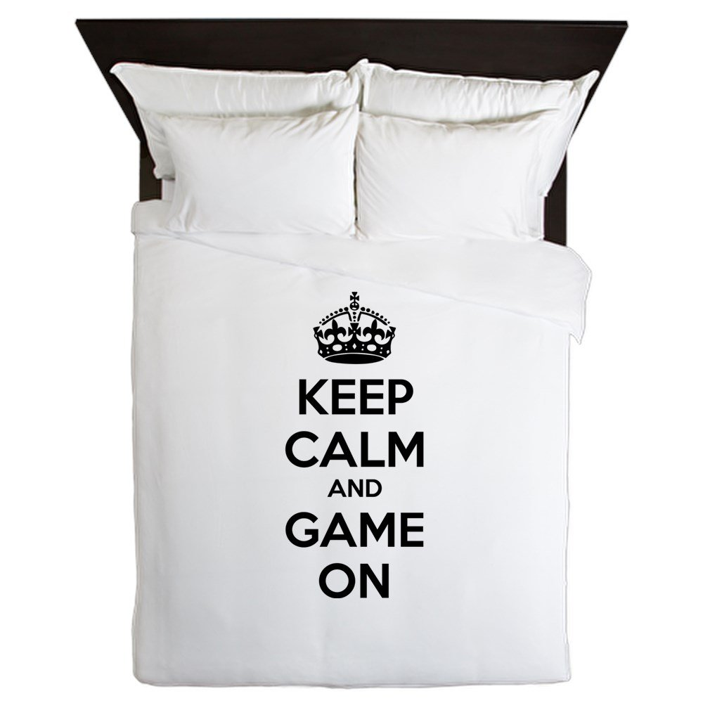 CafePress - Keep Calm And Game On - Queen Duvet Cover, Printed Comforter Cover, Unique Bedding, Microfiber