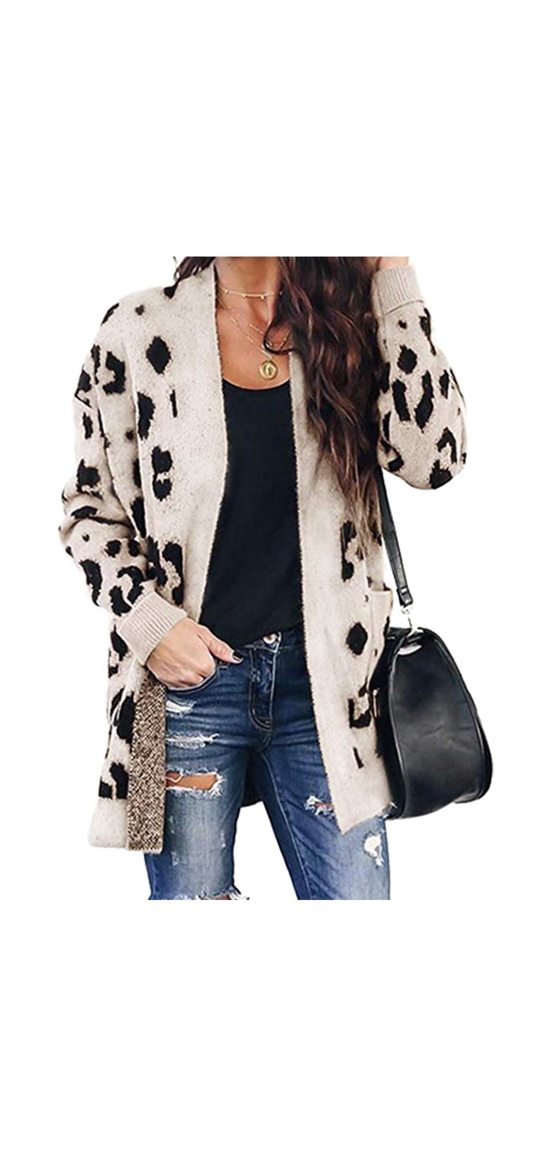 Women Chic Leopard Print Cozy Sweater Pockets Button Down