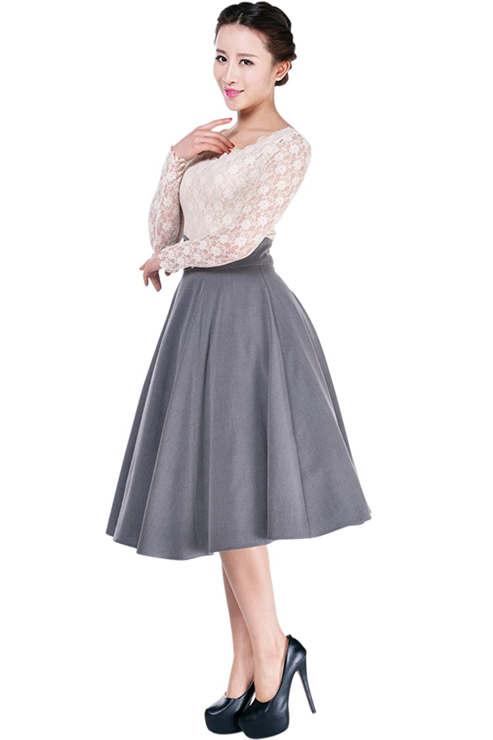 Plus Womens Pinup Lovely Office Lady High Waist Swing Full Circle Skirt 61370