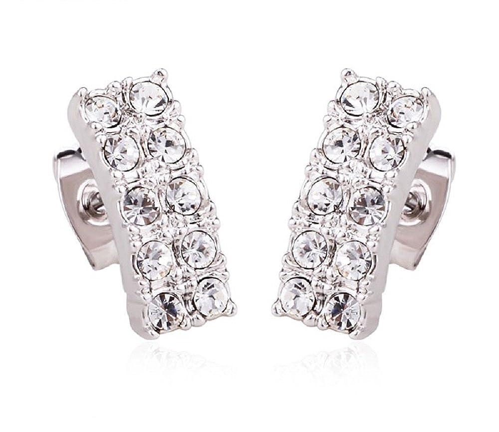 5d51d2617e38 Amazon.com  Rectangular Swarovski Crystals Silver Tone Pave Earrings   Jewelry