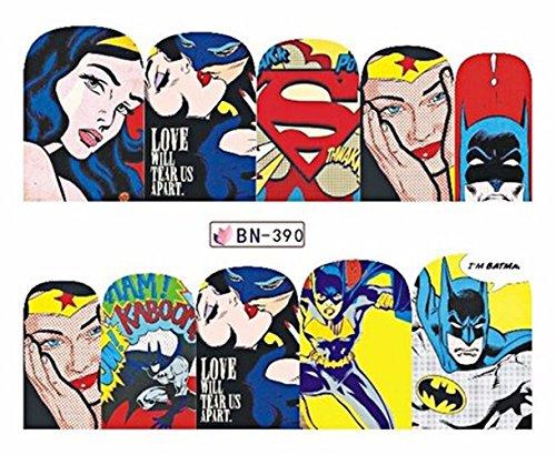 Full Set of 10 Superman Batman Wonder Woman Bat Girl Nail Wrap Decals Sticker Salon Quality Nail Art - 1 Sheet - Punk Gothic Rockabilly -