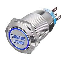 ESUPPORT 12V Car LED Light Headlight Push Button Metal Toggle Switch 19mm Engine Start Blue