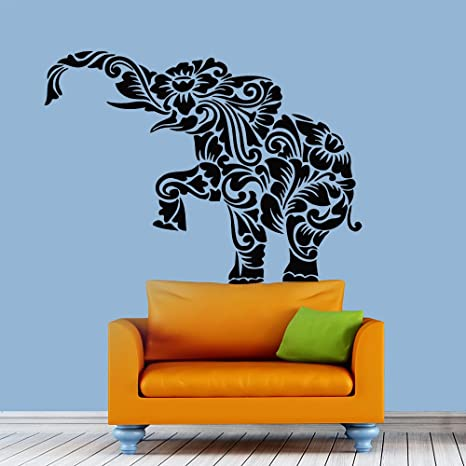 Amazon Com Wall Decals Elephant Indian Abstract Decal Vinyl Sticker Home Decor Bedroom Interior Window Decals Mural Art Chu1141 Kitchen Dining