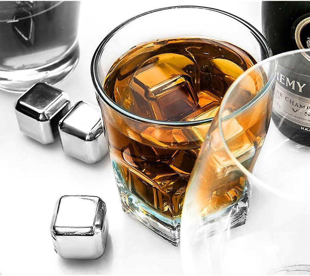 6 pcs Vodka FBGood Cube de Glace Bac /à Gla/çon avec Pinces en Caoutchouc pour Whisky Ensemble de Cadeaux Pierre a Whisky Exclusives en Acier Inoxydable Gla/çons Pierre R/éutilisables Vin