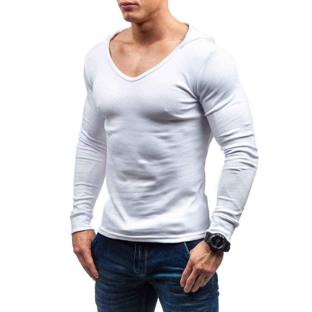 Corsion Mens Fashion Solid Color Shirt Male Long Sleeve Hoodie Blouse Tops