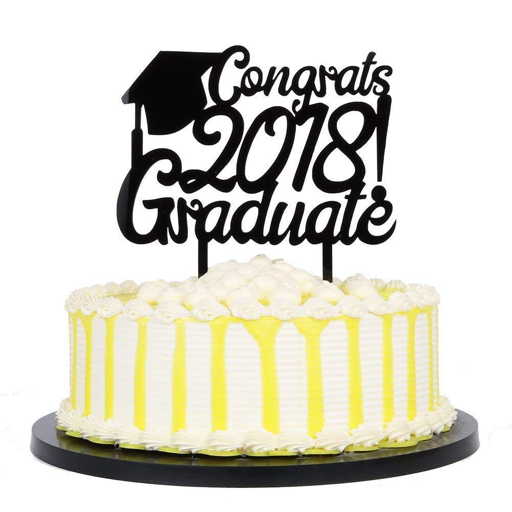KISKISTONITE Black Acrylic Congrats 2018 Graduate Cake Topper - High School Graduation, College Graduate Party Decorations Supplies Special Event