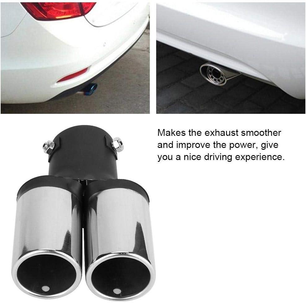 Auto Geändert Doppel Auspuff Hinterrohr Edelstahl Universal Schalldämpfer Endrohr Throat Chrome Trim Auto