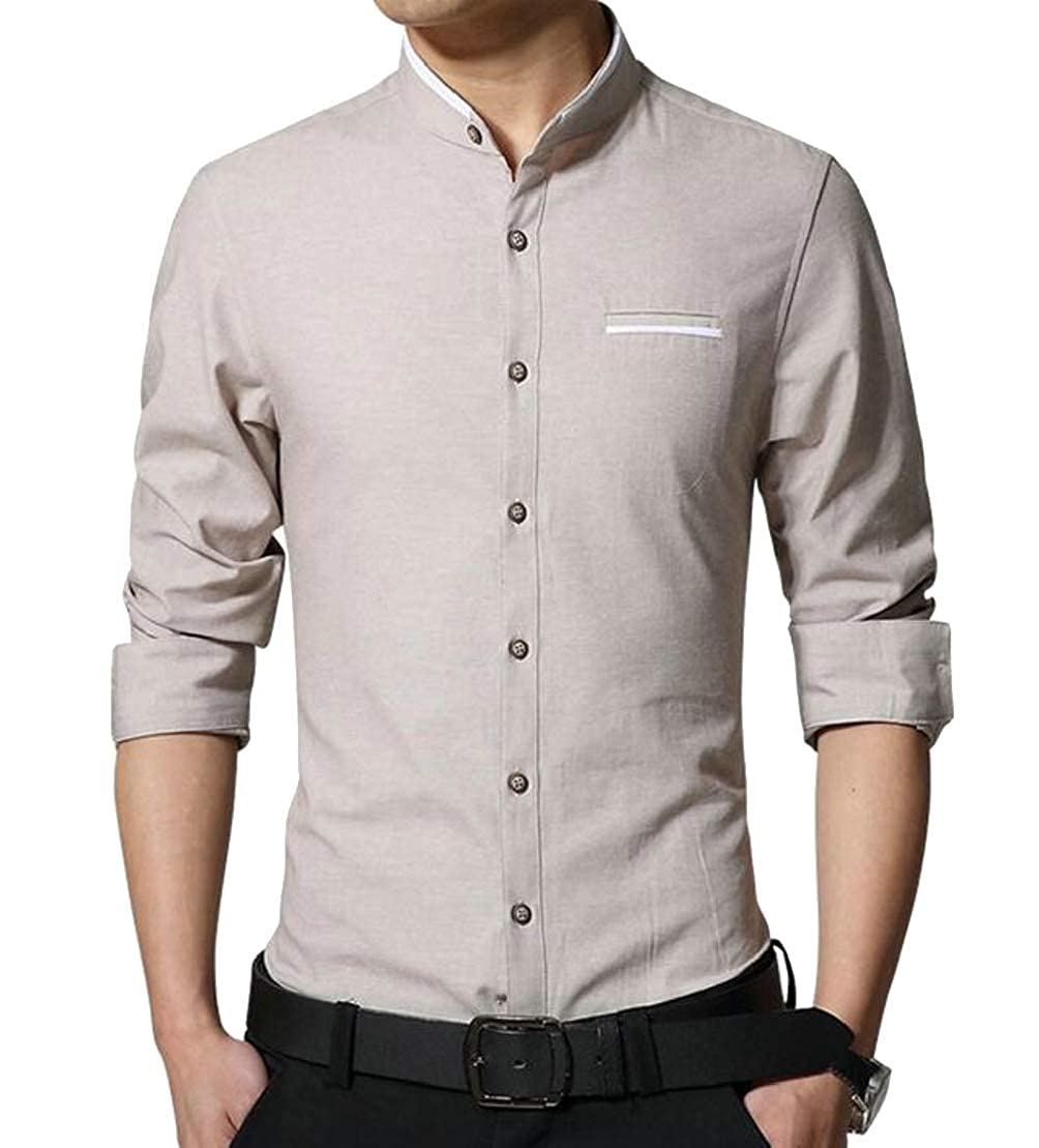 Wofupowga Mens Casual Long Sleeve Lapel Button Down Slim Fit Workwear Shirts