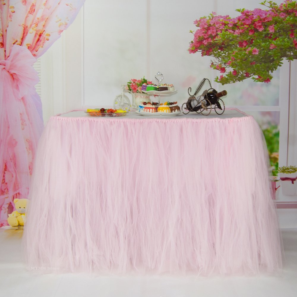 Table Skirt, Romantic Tulle desk gauze, Table Decoration, Snowflake Wonderland Tutu Table Cloth, for Baby Shower, Wedding, Birthday, Party, Bar, Prom, Valentine's Day Christmas (Pink)