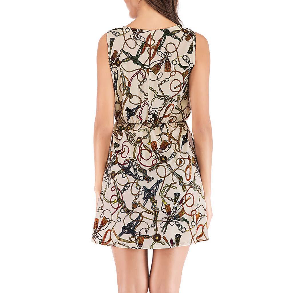 Women Summer Casual Sleeveless Sundress Printing Evening Party Mini Dress MITIY,S-XL