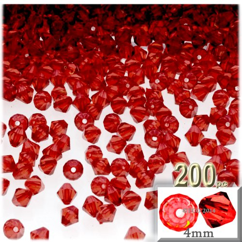 The Crafts Outlet, 200-pc Acrylic Bicone Beads, Faceted, 4mm, Ruby (Acrylic Faceted Bicone Beads)