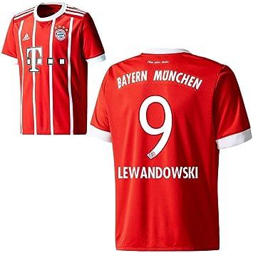Adidas FC Bayern München Home Camiseta 2017 2018 Hombre Niños con Jugador Nombre Rojo, Lewandowski, 176: Amazon.es: Deportes y aire libre